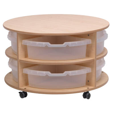 Low Level Circular Storage Unit With 8 Clear Tubs
