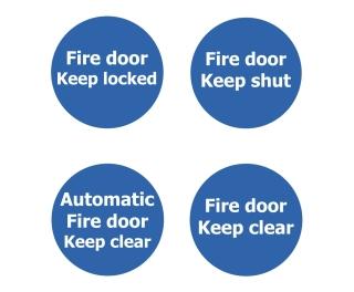 Fire Door Non Marking Adhesive Sign x 3