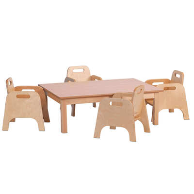 Wooden Rectangular Table and 4 Sturdy Chairs