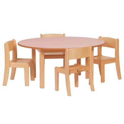 Wooden Circular Table and 4 Stacking Chairs