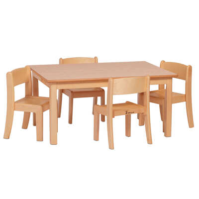 Wooden Rectangular Table and 4 Stacking Chairs
