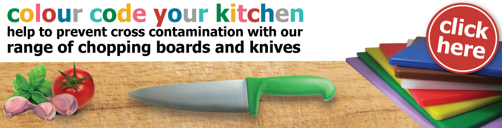 Colour code your kitchen with gompels chopping boards and knives range.