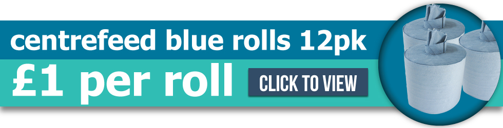 Blue Centrefeed Rolls - Only £1 per roll with product code 35238