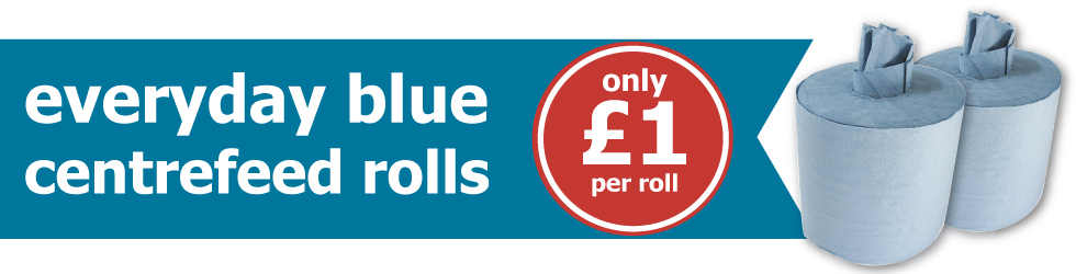 Everyday Blue Centrefeed Rolls - Only £1 per roll when you buy 12!