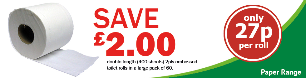 BUY 2 CASES SAVE £2 DOUBLE LENGTH TOILET ROLLS