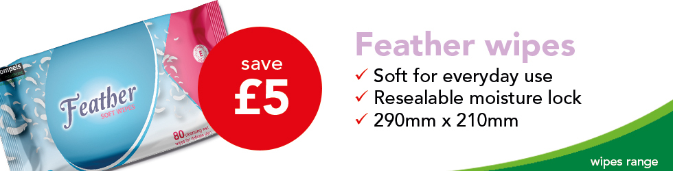 save £5 feather wipes