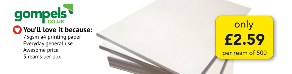 ONLY £2.59 PER REAM A4 PAPER
