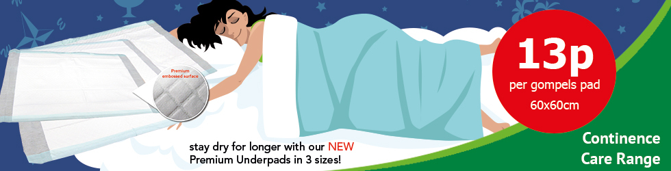 NEW Gompels Premium underpads keep residents dryer for longer and only 13p per pad