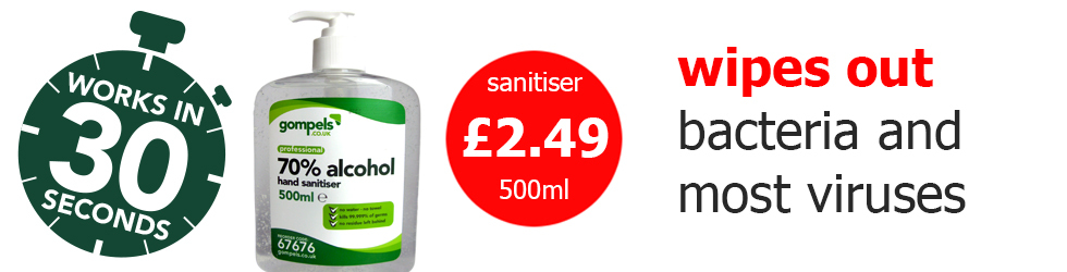 Our 70% alcohol hand sanitiser will wipe out bacteria and most viruses, just £2.49 for 500ml